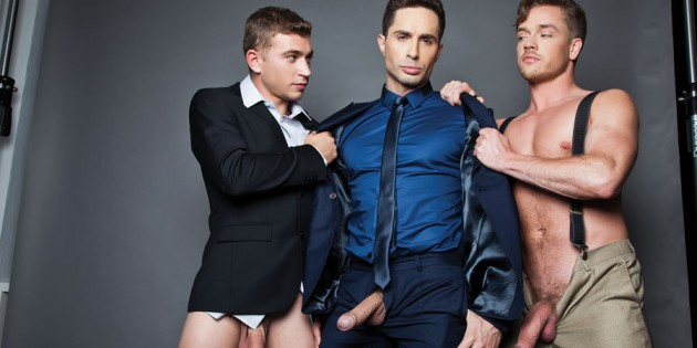 Four Play: In Which We Copy & Paste A Press Release About Michael Lucas Barebacking With Three Men In His Boardroom…