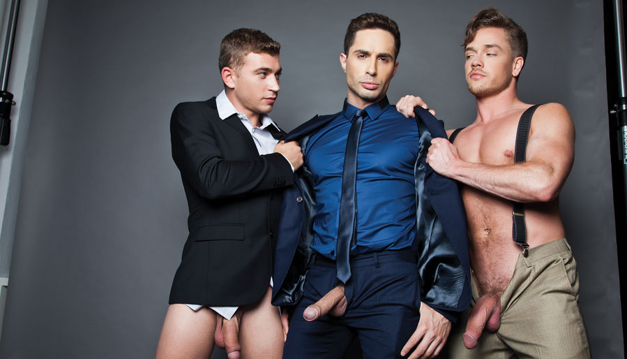 Michael Lucas barebacks with Alexander Greene, Lucas Knight and FX Rios for gay porn site Lucas Entertainment 0