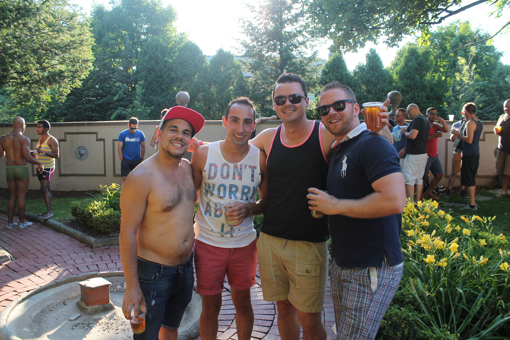 Manhunt Summer Pool Party with gay porn stars Deviant Otter, Adam Wirthmore and On The Hunt model Angelo.