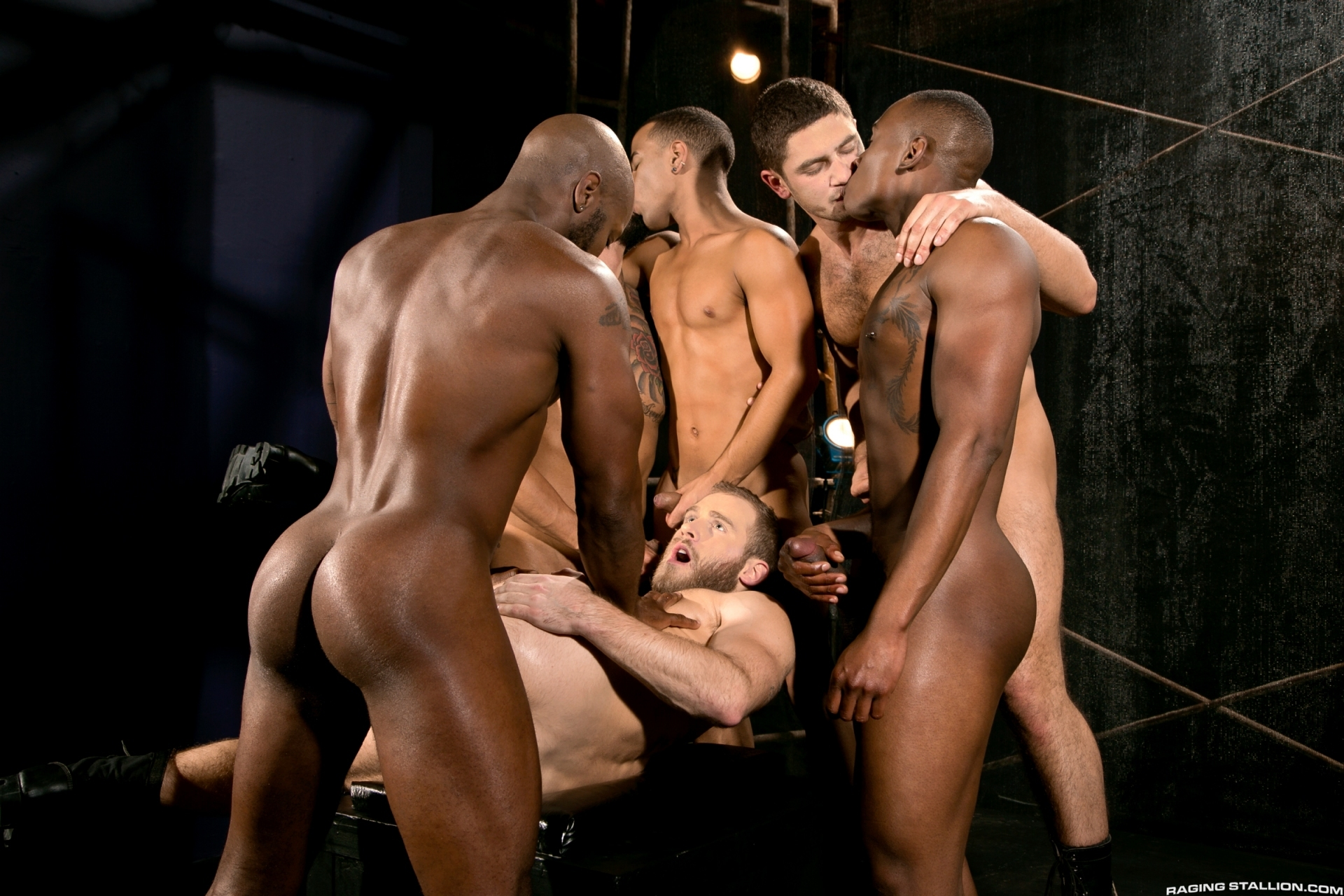 Shawn Wolfe in a gangbang orgy with Tyson Tyler, Boomer Banks, Dato Foland, Race Cooper and Trelino for the gay porn film Into Darkness by Raging Stallion.