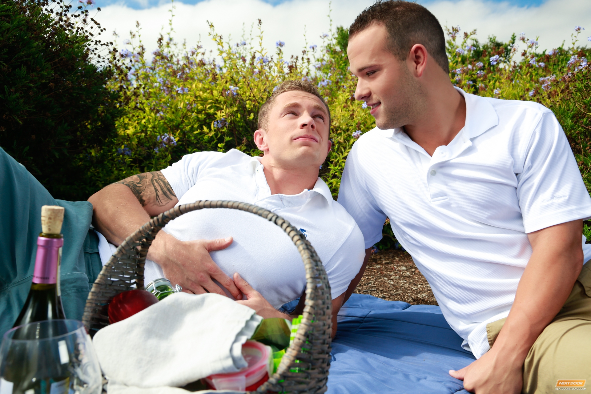 Markie More and Luke Adams flip-fuck outdoors for gay porn site Next Door Buddies.