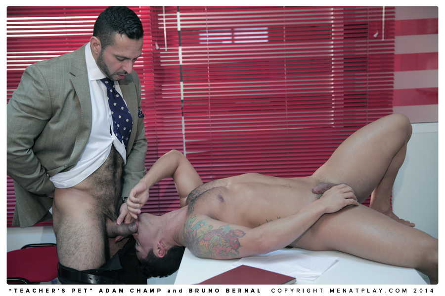 Adam Champ fucks Bruno Bernal in Teacher's Pet by gay porn site Men At Play.