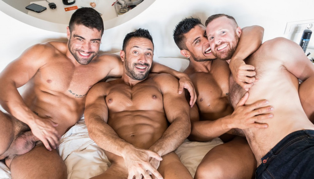Tim Kruger joins Wagner Vittoria, Flex Xtremmo and Diego Lauzen for a hot tub orgy on gay porn site Tim Tales.