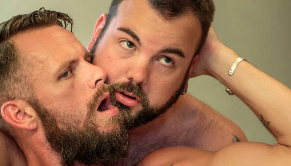 Bone Flexx bottoms for Aiden Storm in a bareback gay bear porn scene for Hairy and Raw 0