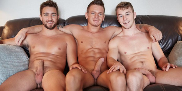Three's Company: Zeb, Rowan & Brayden Take Turns Bottoming For Corbin Fisher