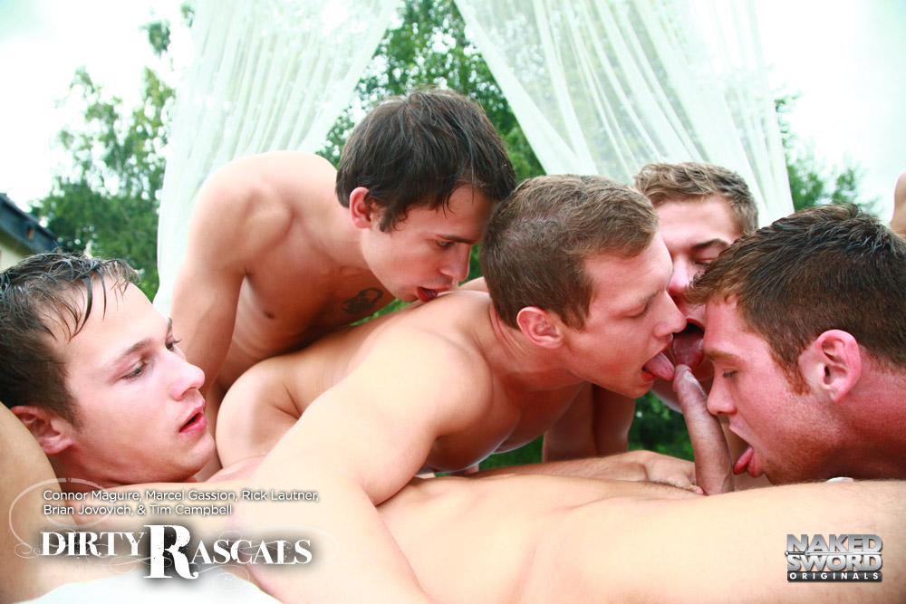 Connor Maguire in an orgy with Marcel Gassion, Brian Jokovich, Rick Lautner and Tim Campbell for the gay porn film Dirty Rascals by Naked Sword.