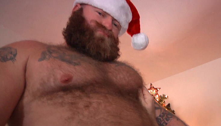 Rusty G, Hunter Scott and Hoss Adams have a bareback Christmas threesome in gay Santa porn from bear site Monster Cub 0