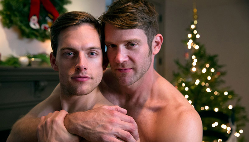 Tayte Hanson and Colby Keller flip-fuck in a Christmas sex scene for gay porn site Cocky Boys featuring ornaments from Liberace.