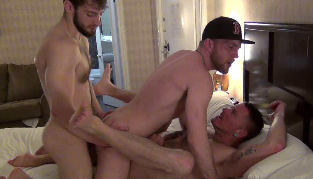Devin Totter, Bravo Delta and Max Cameron in a gay porn threesome for Deviant Otter with spit-roasting, double-penetration and sandwich fucking.