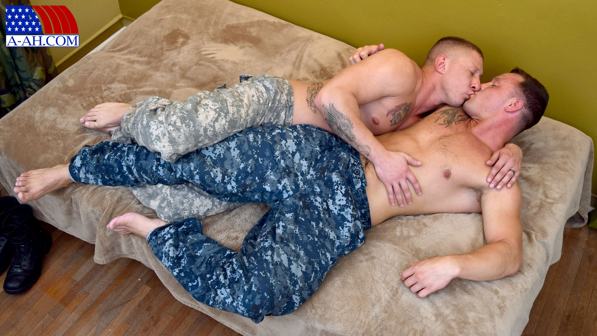 Military black gay men action