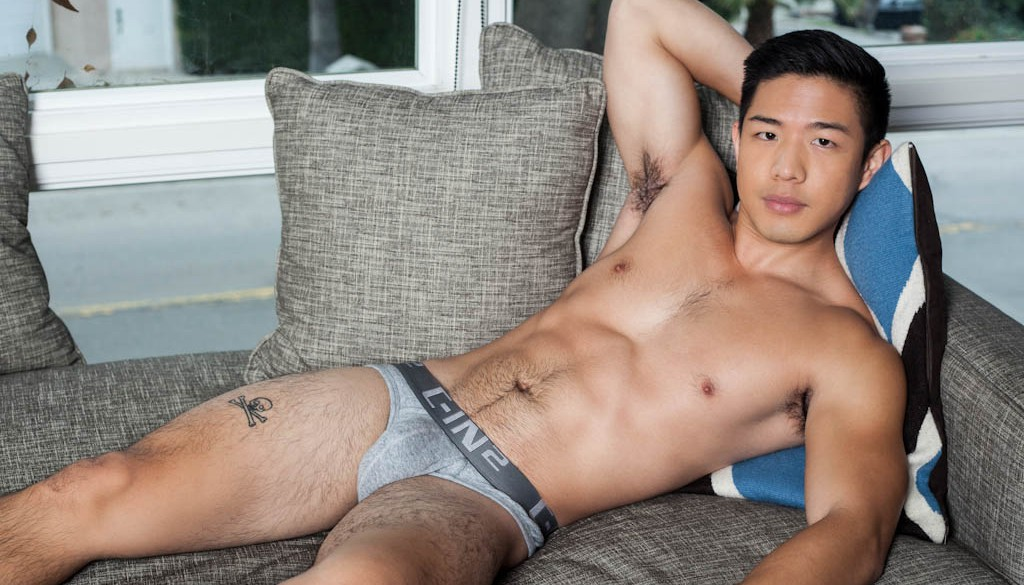 Cooper Dang shows off in a gay porn solo for Randy Blue 0