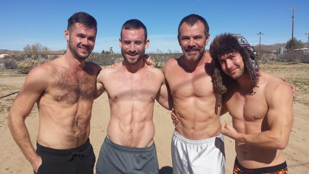 Mike De Marko, Mike Gaite, Max Sargent and Colt Rivers on the set of Joe Gage's upcoming gay porn film Dad Out West