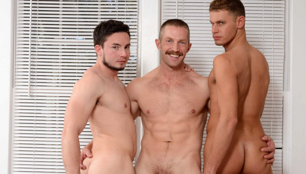 Adam Herst fucks Andres Moreno and Luke Alexander in a gay porn scene for Drill My Hole.